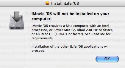 iLife '08 error message