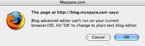 MySpace error message