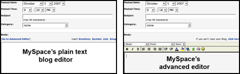MySpace messageeditors