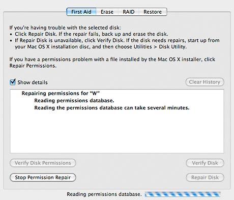 Repairing permissions under OS X 10.5.3