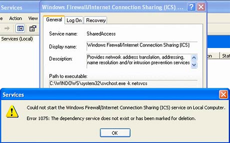 Windows XP firewall cannot start error