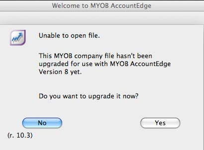 Upgrade the file for use in AccountEdge 8