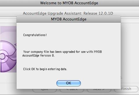 Successful conversion to AccountEdge 8