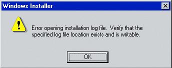 Windows 95 error opening log