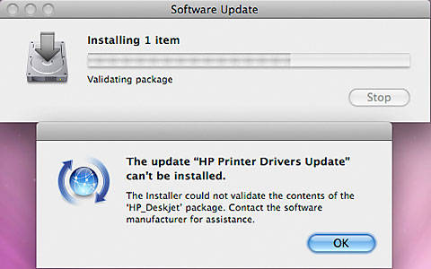 HP Printer Drivers Update cannot be installed