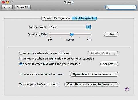 Text to Speech dialog box