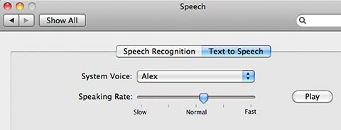 Text to Speech Preferences