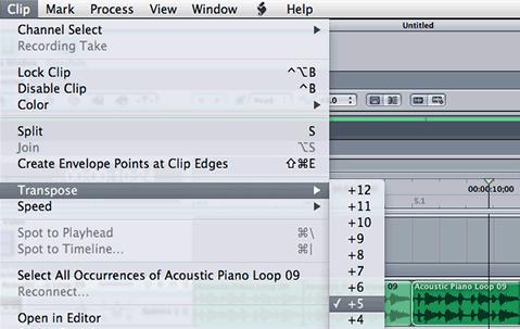 Transpose clip menu in Soundtrack Pro