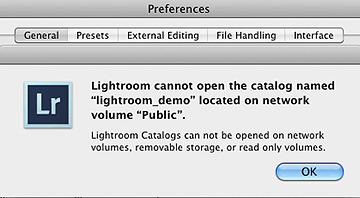 Adobe Lightroom cannot open catalog on network volume