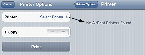 No AirPrint printers found