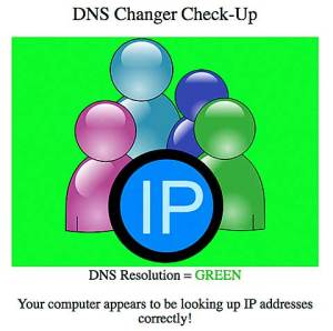 DNS Changer Check-up green confirmation screen
