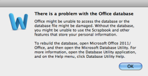 Rebuild Office 2011 database screen