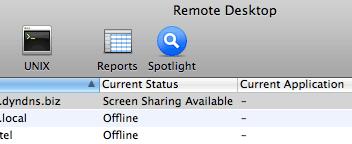 Apple Remote Desktop login screen