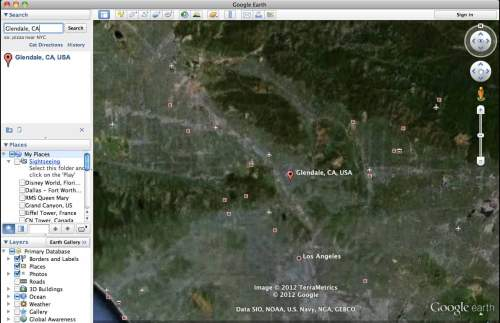 Google Earth search for Glendale, California
