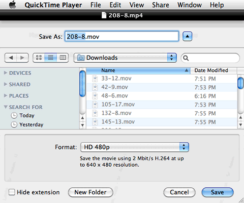 QuickTime Player 10 Save As HD 480p