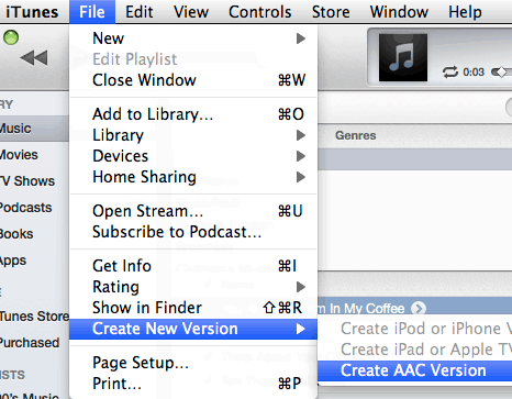 iTunes create a new version