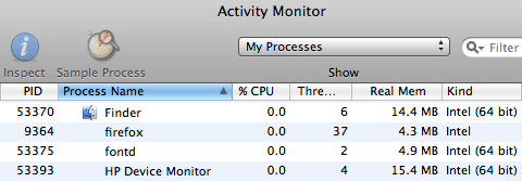 Firefox process running in Activity Monitor