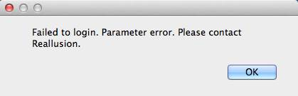Failed to login. Parameter error.