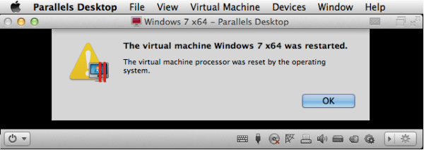Virtual Machine was reset