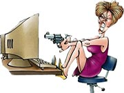 Woman killing her computer