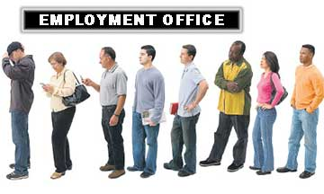 Applicants Standing in Line at Employment Office