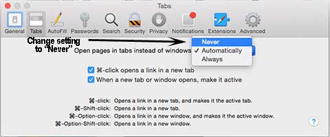 Change Safari tab settings