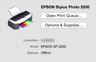 Epson SP 2200 printer setup