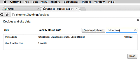 Cookies deletion menu in Google Chrome