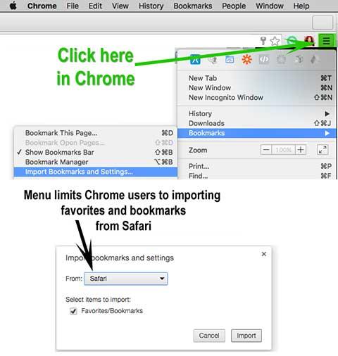 Chrome import bookmark settings