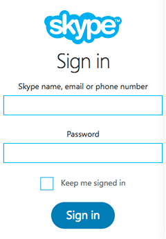 Skype sign in window