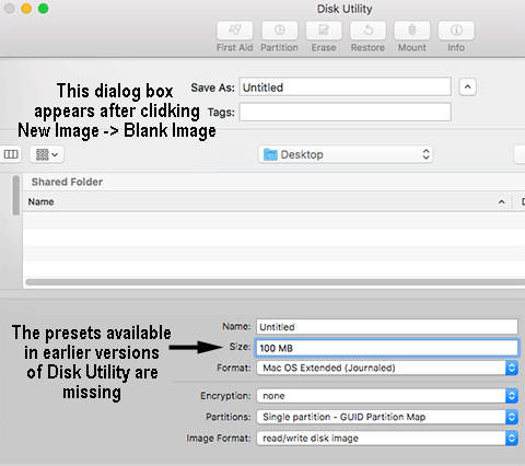 New Disk Image dialog box