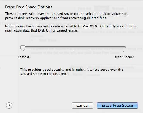 Disk Utility 10.8 erase free space options