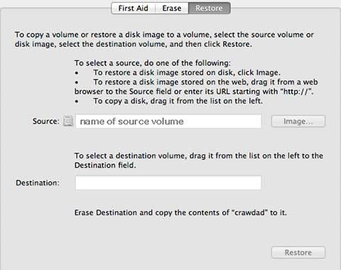 Disk Utility 10.8 restore menu