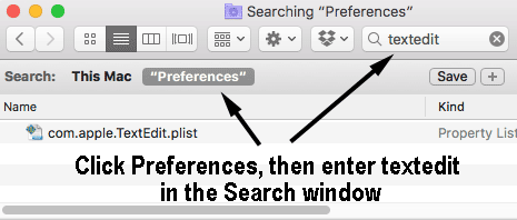 Finder search for Preferences folder