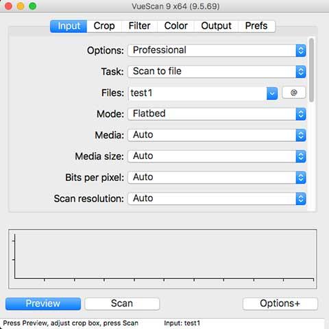 VueScan9 input menu