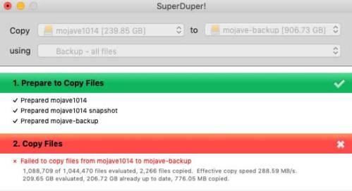 SuperDuper failed backup message