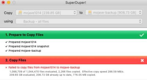 SuperDuper failed backup message
