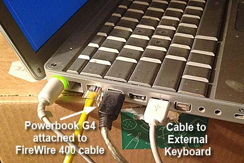 powerbook g4 connected to firewire400 cable