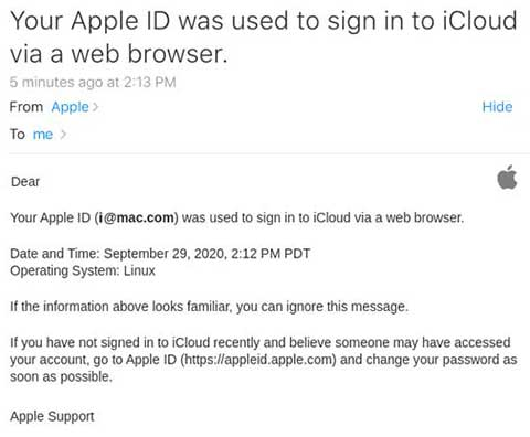 Your Apple ID was used to sign in to iCloud via a Linux web browser
