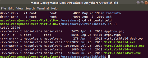 VirtualShield key files list in Terminal