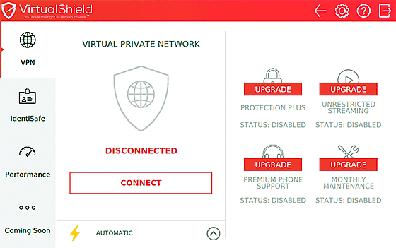 VirtualShield sign-in screen in LInux
